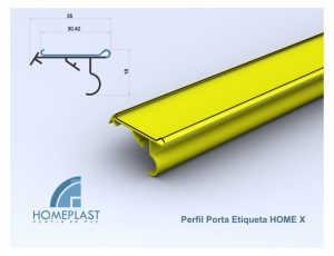 PERFIL PORTA ETIQUETA HOME 10 - Cod.046